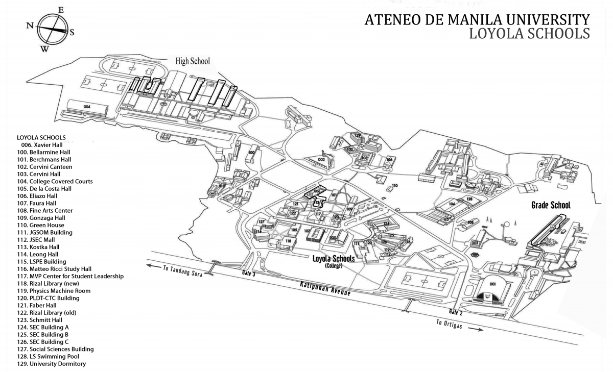 ateneo de manila campus map Campus Map Ateneo Global ateneo de manila campus map